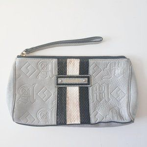 L.A.M.B Leather Snake Print Embossed Wristlet Grey